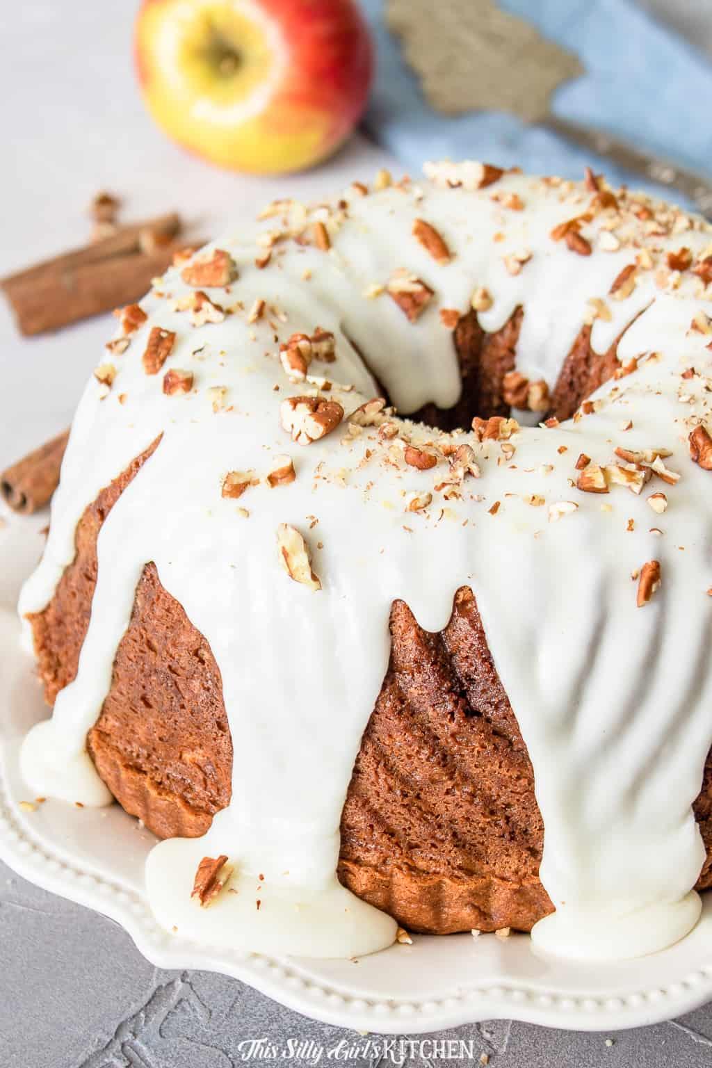 close up glazed coffee cake