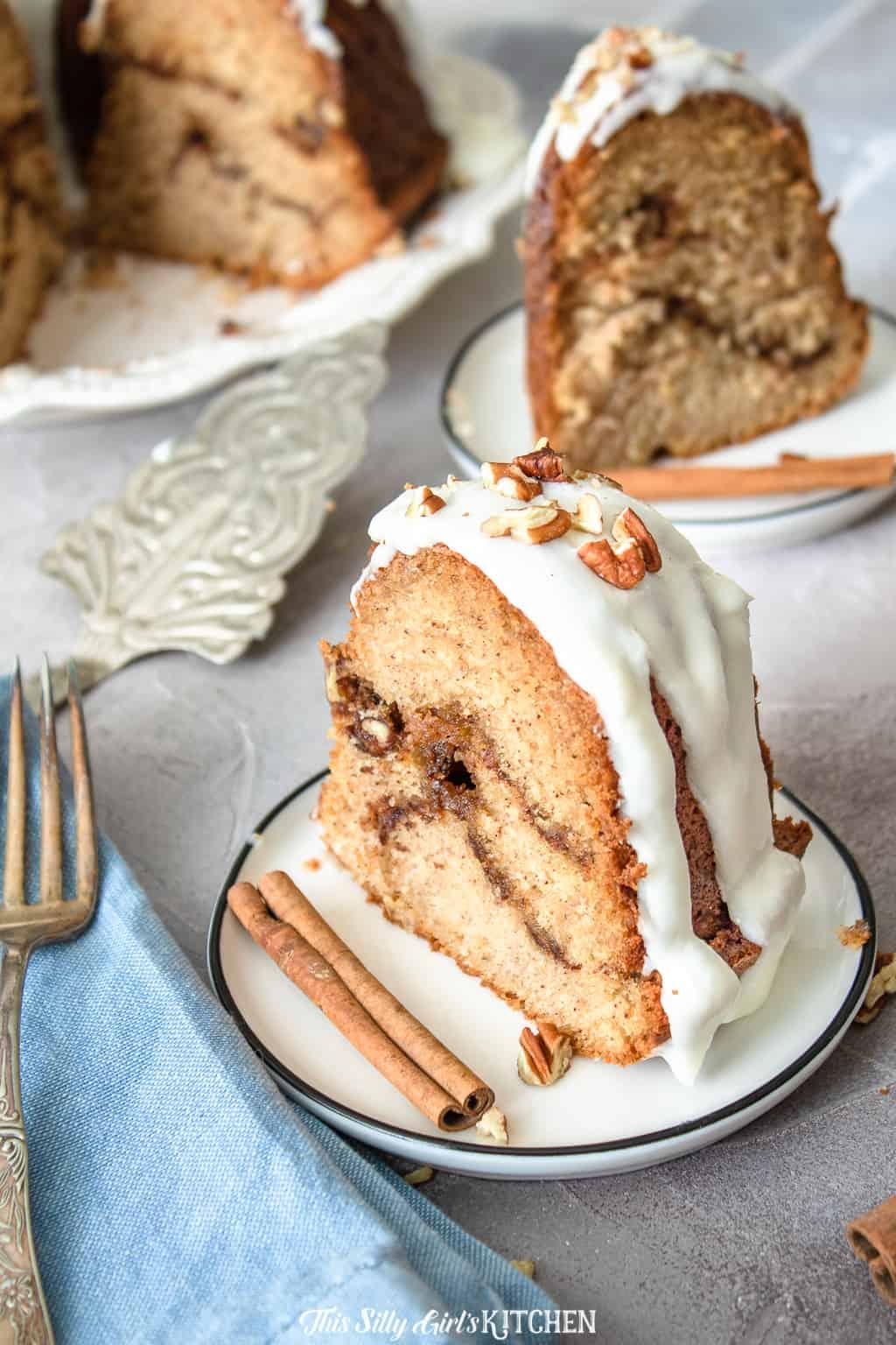 plated sliced coffee cake