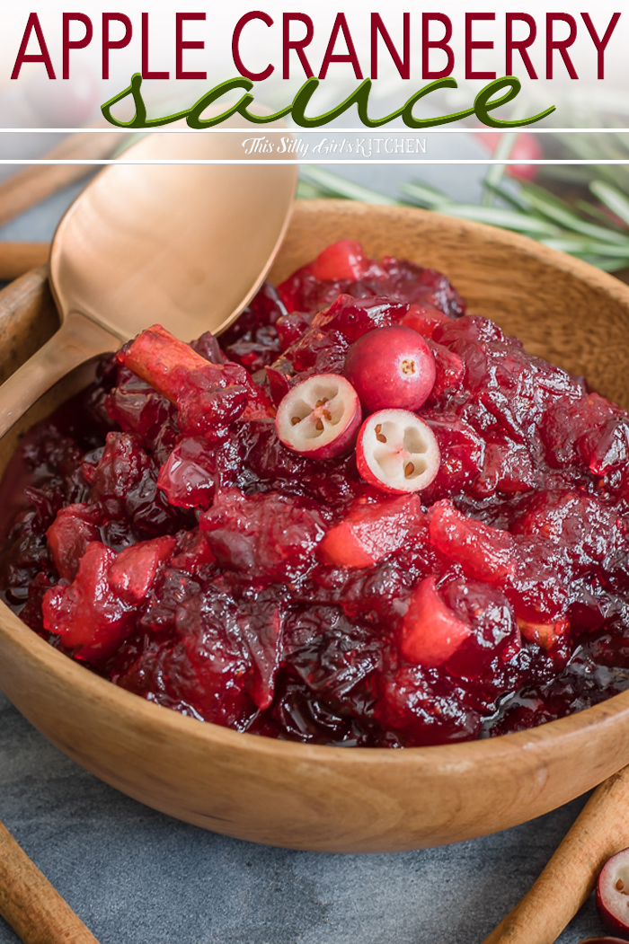 Loaded with apples and fresh cranberries, this cranberry sauce is the perfect addition to any homecooked meal. #recipe from thissillygirlskitchen.com #cranberrysauce #applesauce #applecranberrysauce #cranberryapplesauce #homemadecranberrysauce #thanksgiving