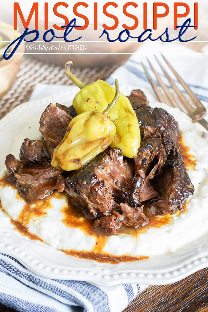 Made in the slow cooker, this Mississippi Pot Roast goes together in minutes, and slow cooks for hours. #recipe from thissillygirlskitchen.com #potroast #slowcooker #mississippipotroast