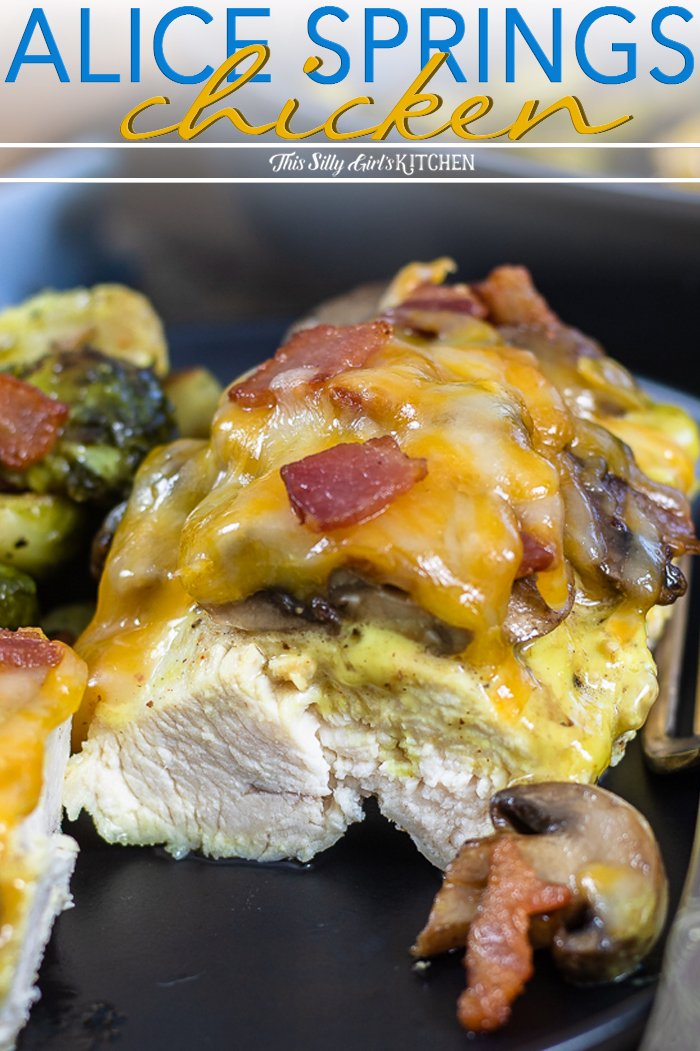 This alice springs chicken is an easy one skillet meal the whole family will love. #recipe from thissillygirlskitchen.com #alicespringschicken #chickenskillet #chicken #dinner #outbacksteakhouse #copycat via @danadevolk
