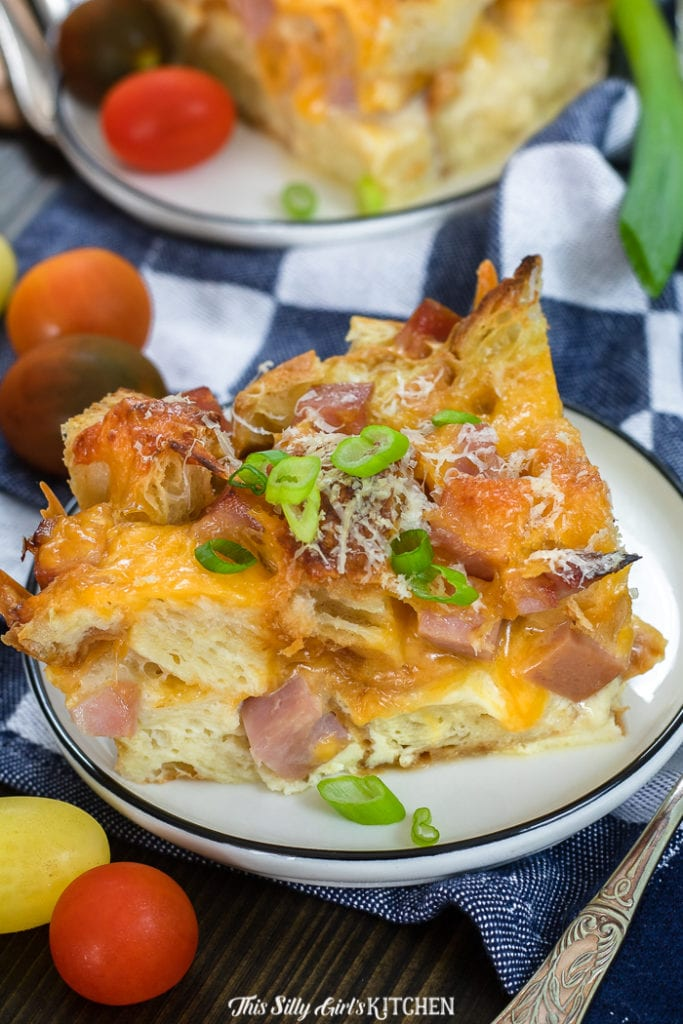 This savory bread pudding can be served as a main or side dish. #recipe from thissillygirlskitchen.com #sillygirlskitchen #breadpudding #savorybreadpudding #hamandcheese #hamandcheesebreadpudding #croissantbreadpudding #holidayrecipes #brunch