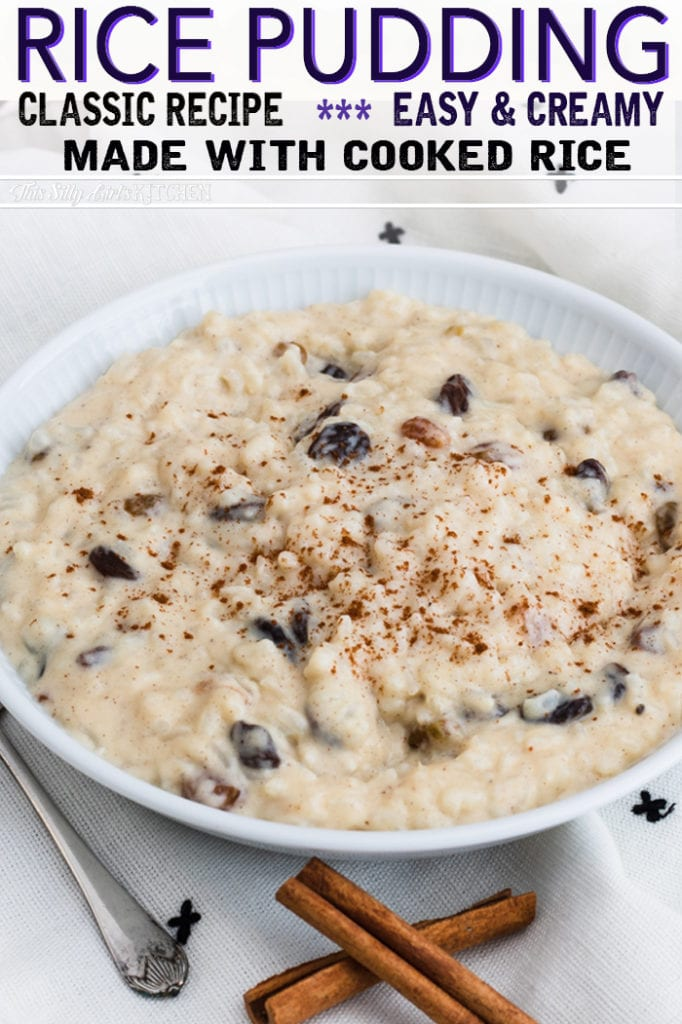 Using rice that has already been cooked is a great way to use up leftovers for this Rice pudding with Cooked Rice! #recipe from thissillygirlskitchen.com #ricepudding #ricepuddingwithcookedrice #creamyricepudding