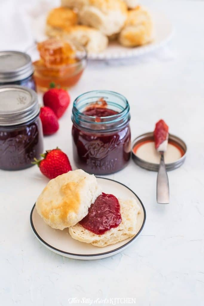 strawberry honey butter on biscuit