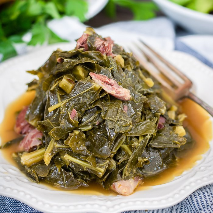 Close up of Southern Collard Greens on white plate square image