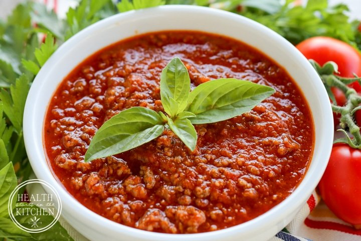 Roasted Tomato Meat Sauce from Health Starts in the Kitchen