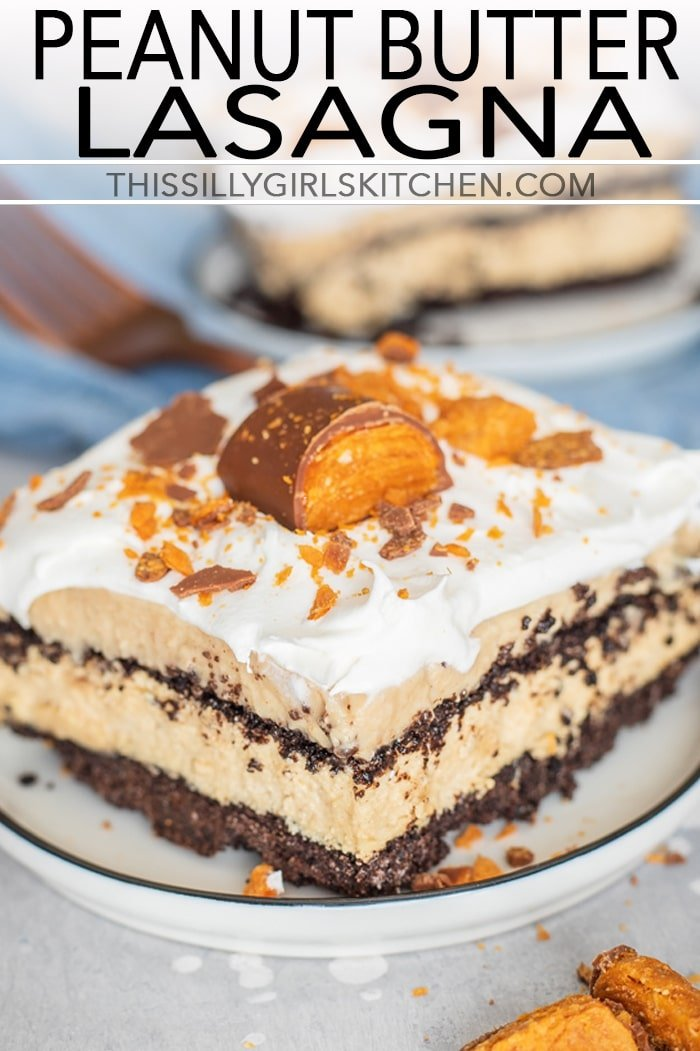 Close up of Peanut Butter Lasagna on plate topped with crushed butterfingers pinterest image