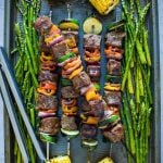 Square image of Steak Kabobs on baking tray