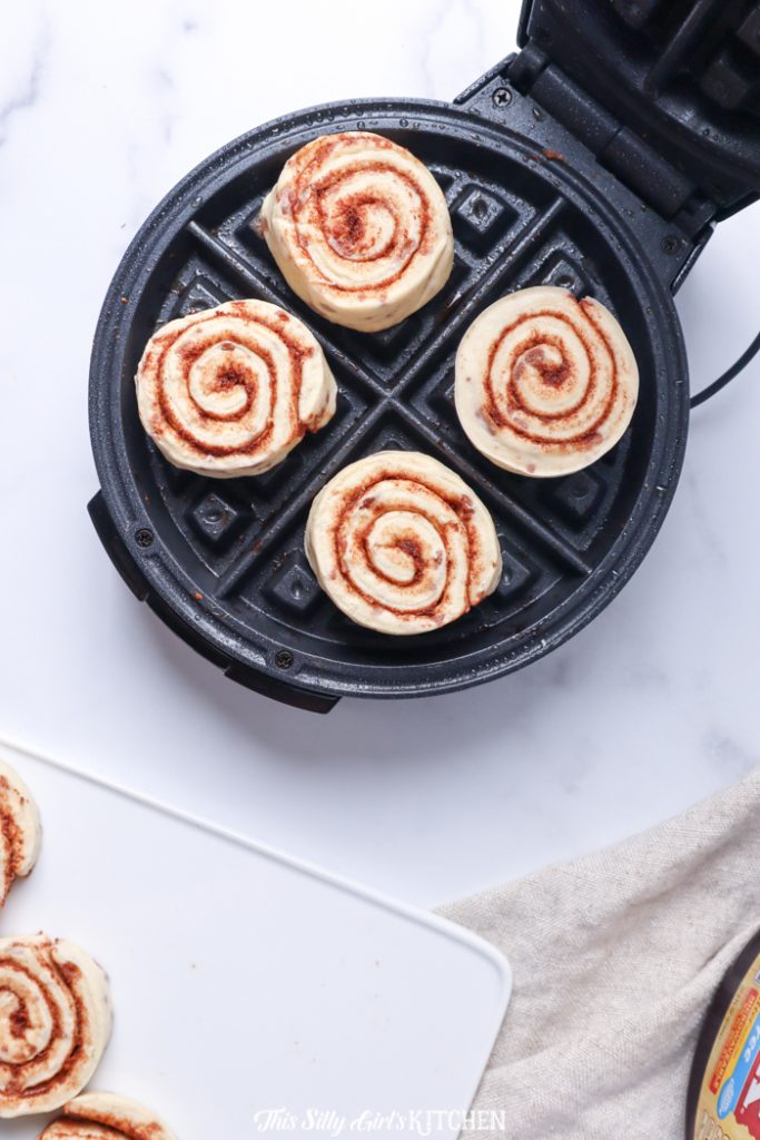 Unbaked Rolls in waffle iron