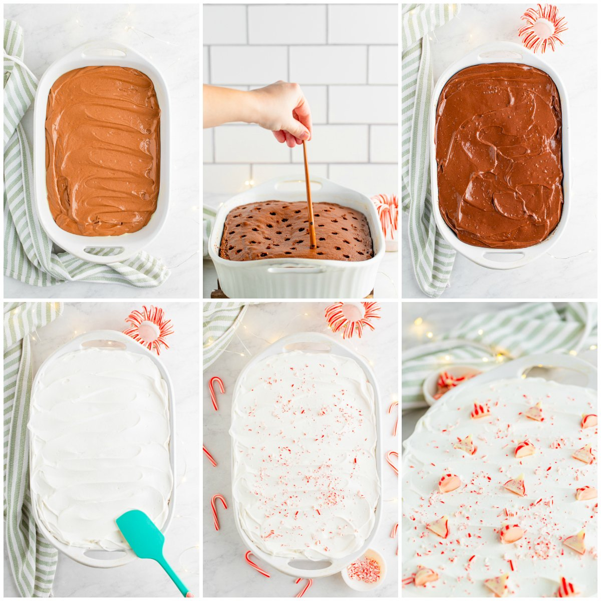 Step by step photos on how to make Chocolate Peppermint Cake