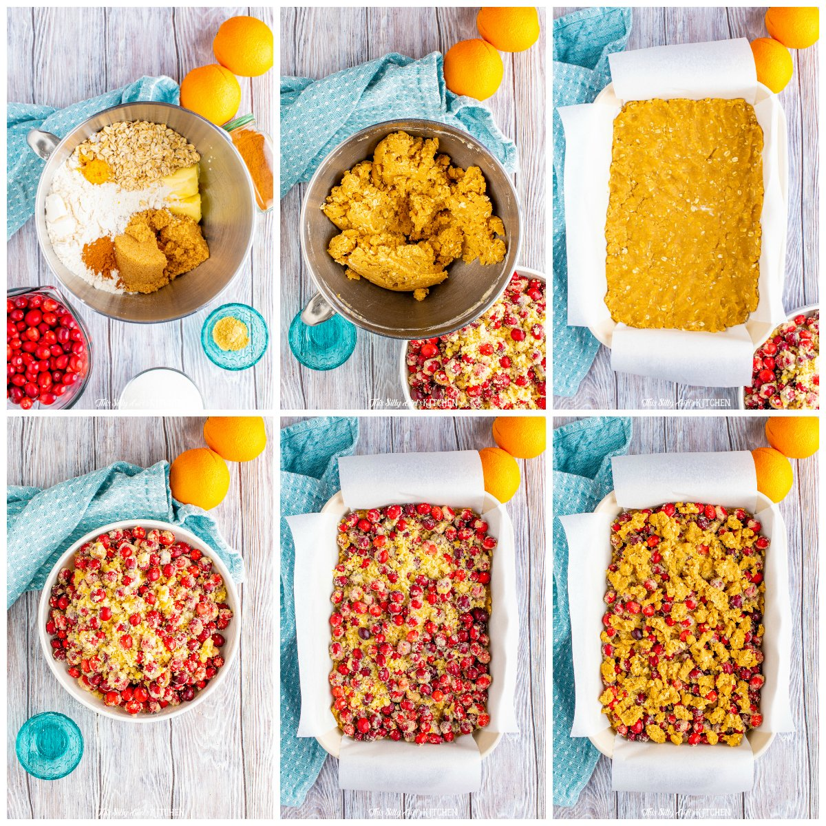 Step by step photos on how to make Cranberry Pie Bars