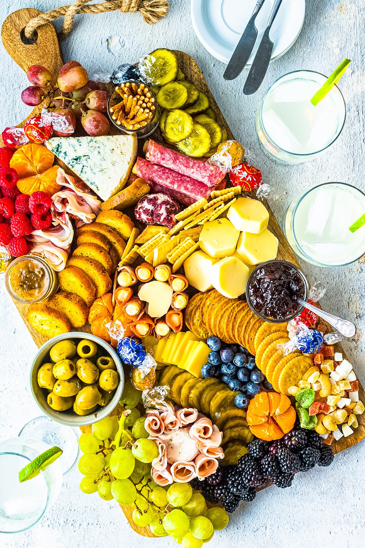 Overhead of filled Charcuterie Board