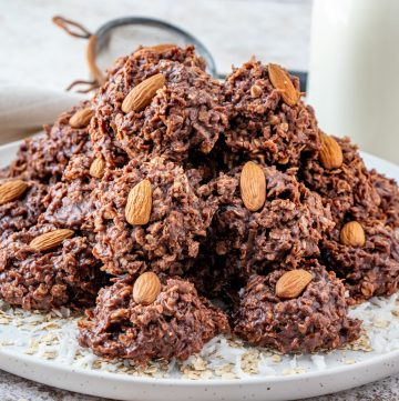 Staked No Bake Almond Joy Cookies on platter square image
