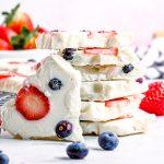 Stacked Yogurt Bark close up square image